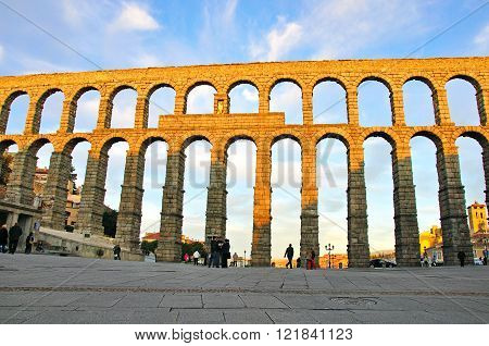 Ancient aqueduct in Segovia old town, Spain