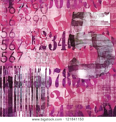 art abstract grunge collage of  number and typo, monochrome  background in purple pink, black and white colors