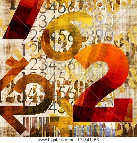 art abstract grunge collage of  number and typo, monochrome  background in orange gold, brown and black colors