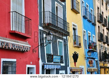 CUENCA SPAIN - JANUARY 5: Multicolor houses of Cuenca city centre on January 5 2012. Cuenca is a city in the Castile La Mancha province in Spain.