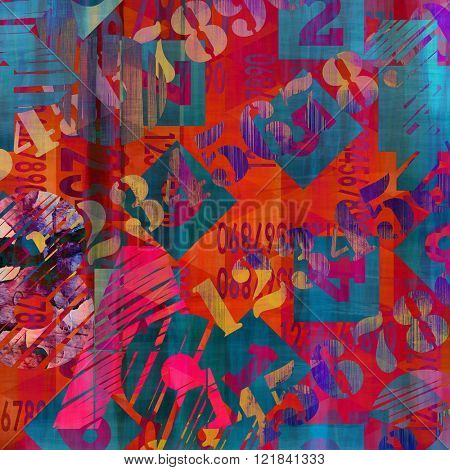 art abstract grunge collage of  number and typo, colorful   background with gold