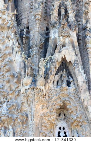 Barcelona, Spain - November 10, 2015: Details of Nativity facade at Sagrada Familia. The church is designed by architect Antoni Gaudi and is still under construction. It is a famous tourist attraction in Barcelona.