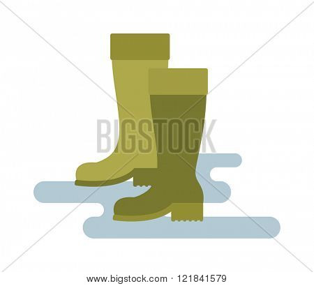 Green rubber rain boots green color vector illustration isolated on white background.
