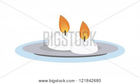 Burning wax candle in a stand flat vector illustration