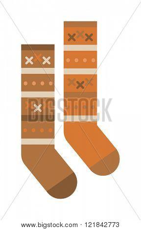 Multicolored woolen winter pair of socks flat cartoon vector style.