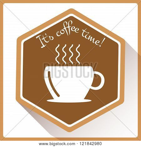 It's Coffee Time Icon In Flat Style