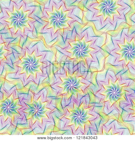 Seamless Pattern With Colorful Rainbow Element Of Guilloche