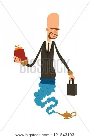 Cartoon business genie with wallet and purse coming out of magic lamp flat vector illustration.