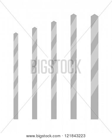 Metal drill bits of different sizes vector isolated over white background