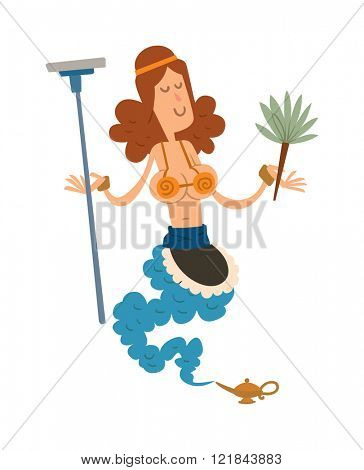 Cartoon cute cleaning girl genie with mop and broom coming out of a magic lamp flat vector illustration.