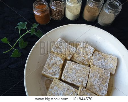 Tofu With Spices, Cooking Vegetarian Healthy Food