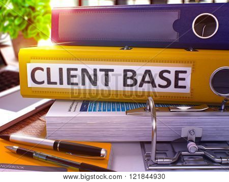Yellow Office Folder with Inscription Client Base.