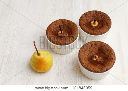 Chocolate-almond Dessert With Pears In White Ceramic Baking Dish