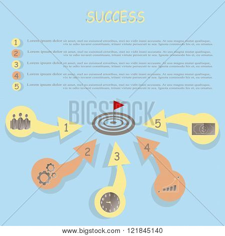 Conceptual motivational banner Success. Red and yellow arrows with a brown icons, a red flag with a light blue background. Flat design, illustration, banner, vector