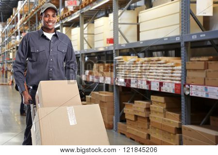 African-american delivery postman.