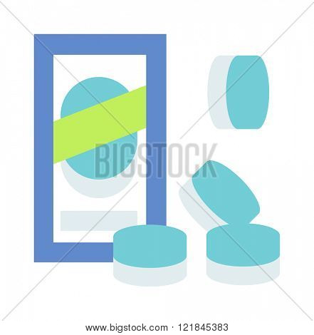 Washing machine tablets kitchenware, chemical tablets for washing machine. Dishwasher machine tablets chemical tools flat vector illustration on white background isolated.