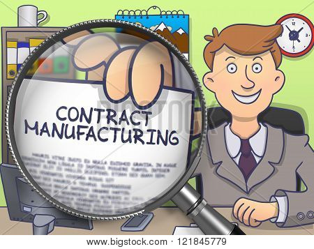 Contract Manufacturing through Magnifying Glass. Doodle Style.