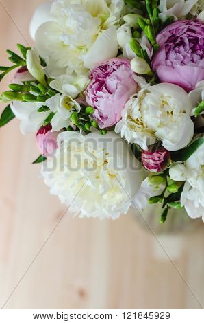 Rich Bunch Of White And Pink Peony On Wooden Background.