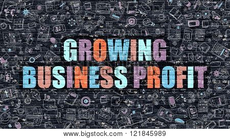 Multicolor Growing Business Profit on Dark Brickwall.
