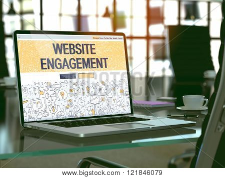Laptop Screen with Website Engagement Concept.
