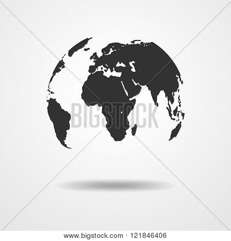 Black Globe Earth Icon - Vector Illustration.