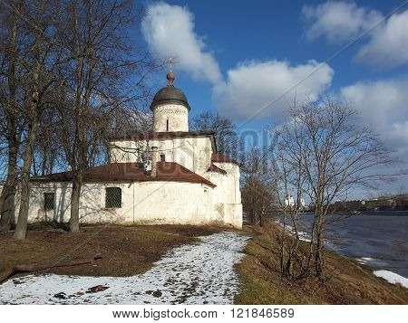 Church Of St. Clement, Russia, Pskov City. The Temple Was Built With Limestone And Lime Mortar