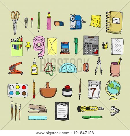 Set  of stationery. Doodle. Isolated. Vector.
