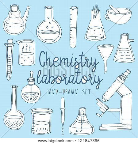 Hand drawn set of chemistry laboratory equipments