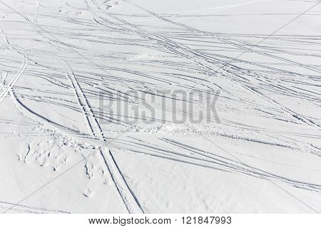 Ski Slope Remains Traces Prints Track