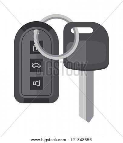Automobile keys unlock control, car keys safety door system vector. Security car key with remote control cartoon flat vector illustration.