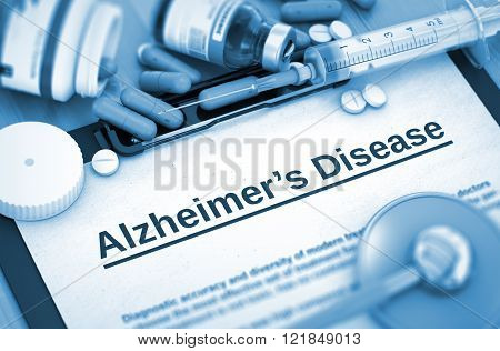 Alzheimer's Disease Diagnosis. Medical Concept. 3D.