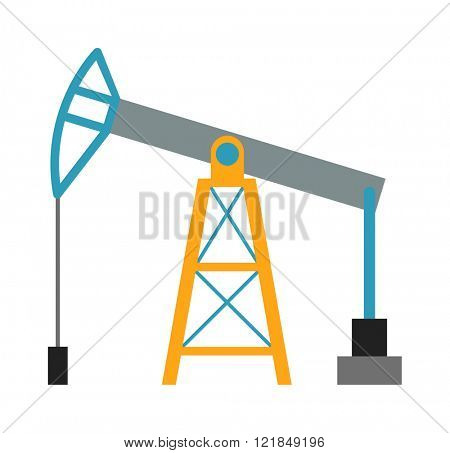 Oil industry business concept of oil derrick production fuel distribution and transportation oil rig composition flat vector illustration. Oil derrig platform colloquially oil rig.