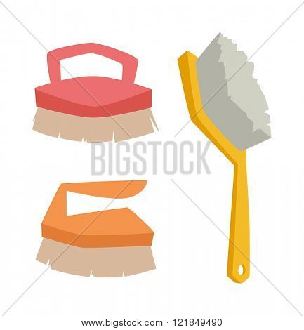Cleaning brushes hygiene tool and cleaning brush hand washing house symbols. Vector cleaning brush icon flat modern design house work equipment illustration.