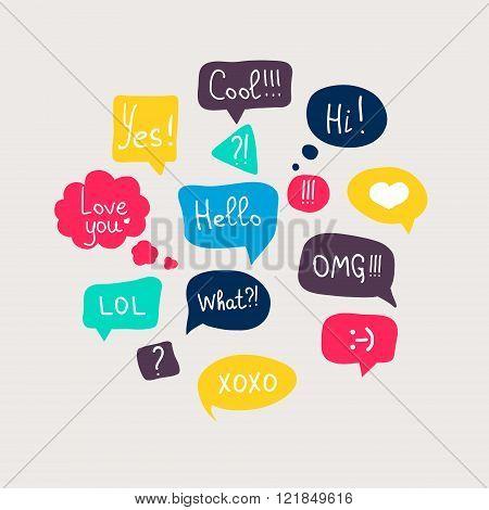 Colorful Questions Speech Bubbles Set In Flat Design