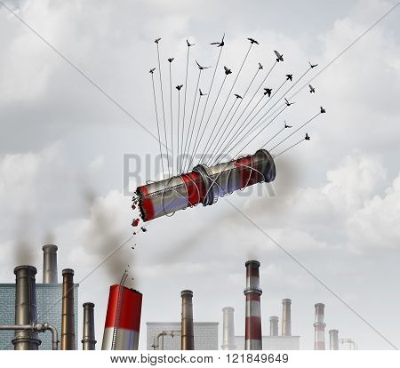 Clean the environment and emission control environmental concept as a group of birds lifting up and removing an industrial smoke stack with dirty soot and smoke as a global climate change symbol for cleaning the air.