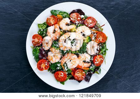 Sea Food salad with Shrimp and vegetables
