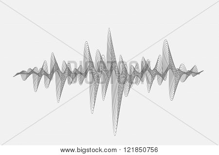 Halftone Sound Wave Icon Modern Music Design Element Isolated On White Background
