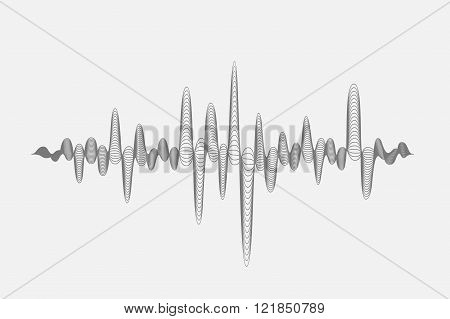 Abstract Gray Music Equalizer Symbol On White Background. Vector Illustration