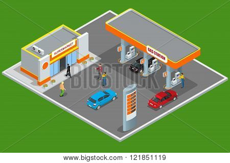 Gas station 3d isometric. Gas station concept. Gas station flat vector illustration. Fuel pump, car,