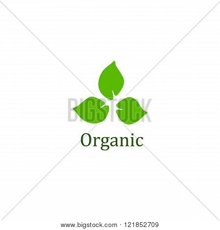 Organic sign with three green leaves