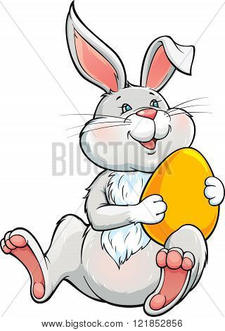 Lovely bunny holding yellow easter egg.