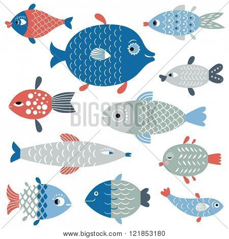 set of fish art, flat style vector illustration.