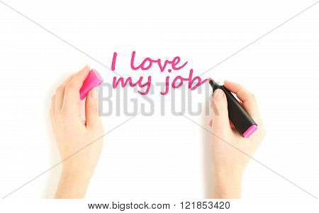 Female Hand With Marker On White Background