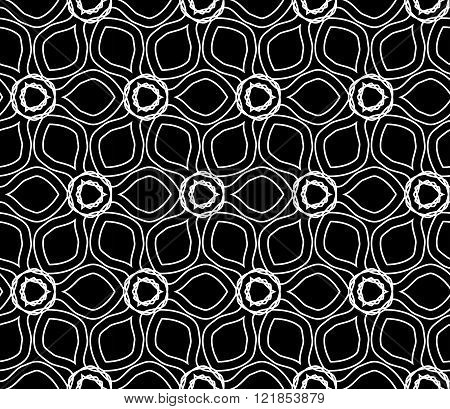 Vector modern seamless geometry drawed floral pattern black and white abstract