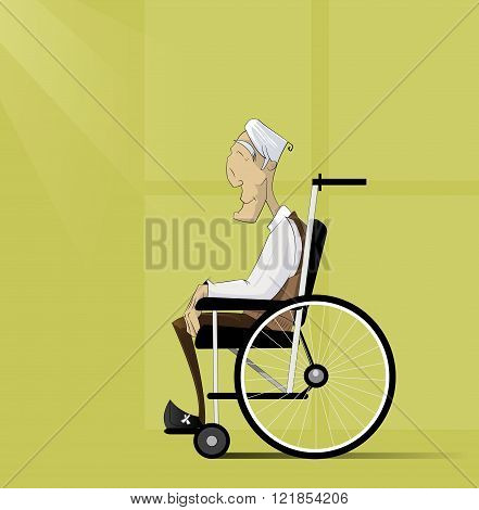 Old man, senior with grey hair sit in wheelchair. Conceptual vector image on theme social services, pensions, nursing home, health care. Cartoon style