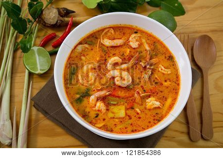 The Thai Food Hot And Spicy Tom Yum Goong.
