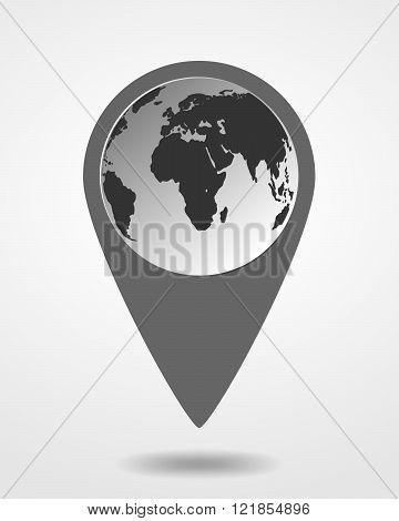 Black Map Marker - Vector Illustration.