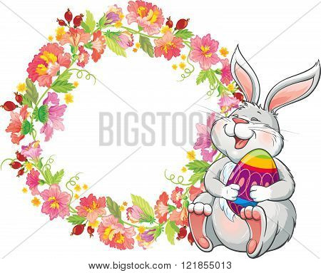 Greeting card with lovely easter bunny and spring flower frame