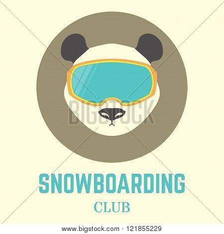 Panda Bear Head With Snowboard Goggles. Vector Illustration,