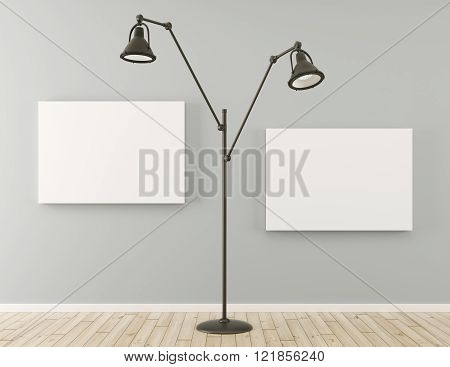 Floor Lamp And Posters 3D Render
